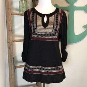 Skies are Blue black embroidered top- NWT